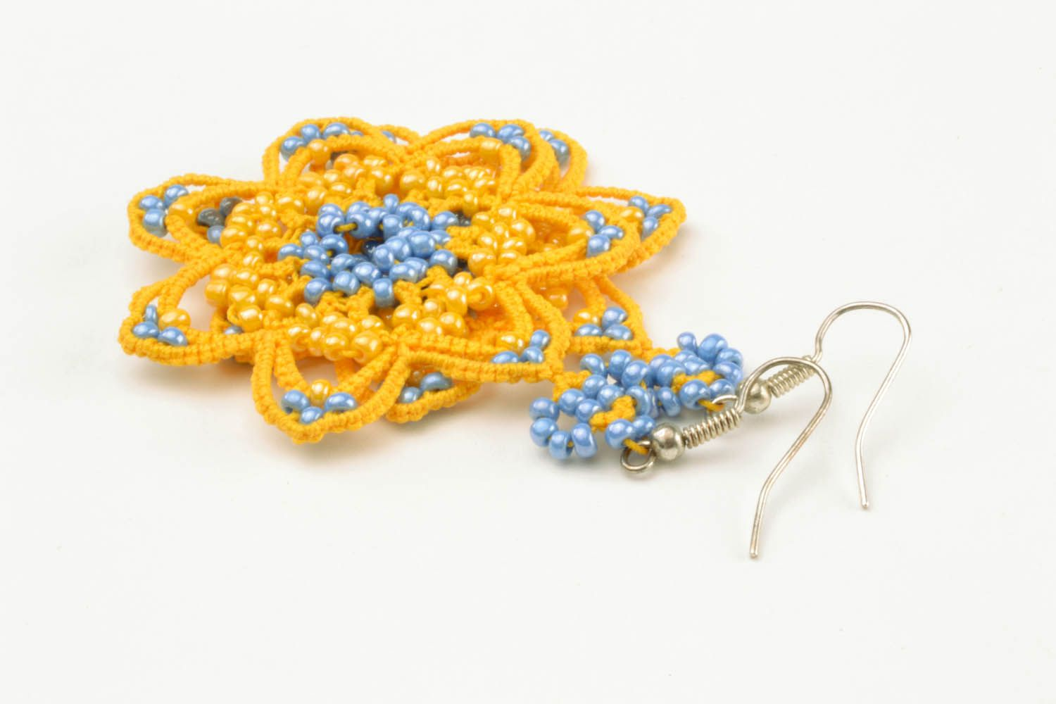 Lace earrings made using tatting technique photo 5