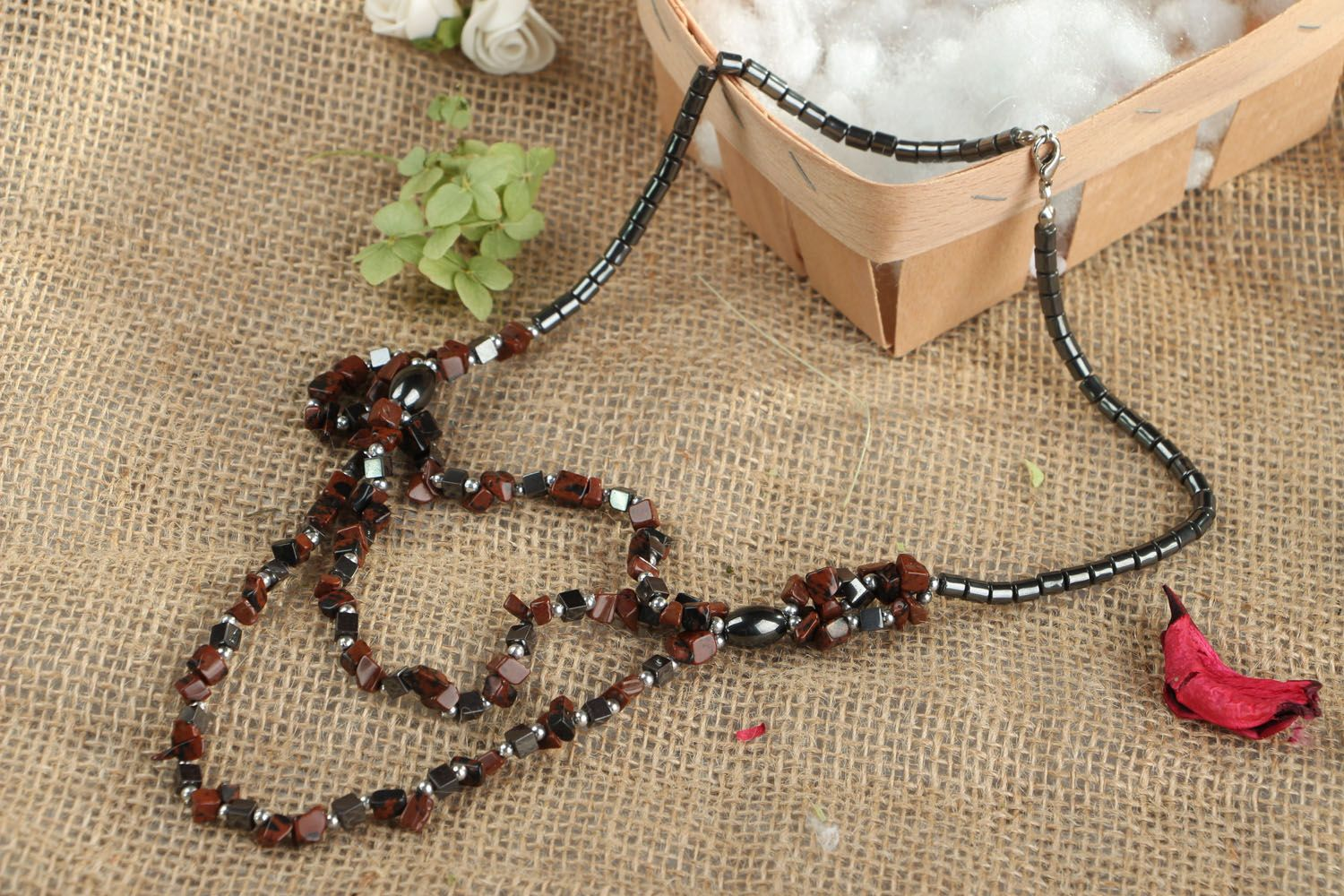 Natural stone necklace photo 5