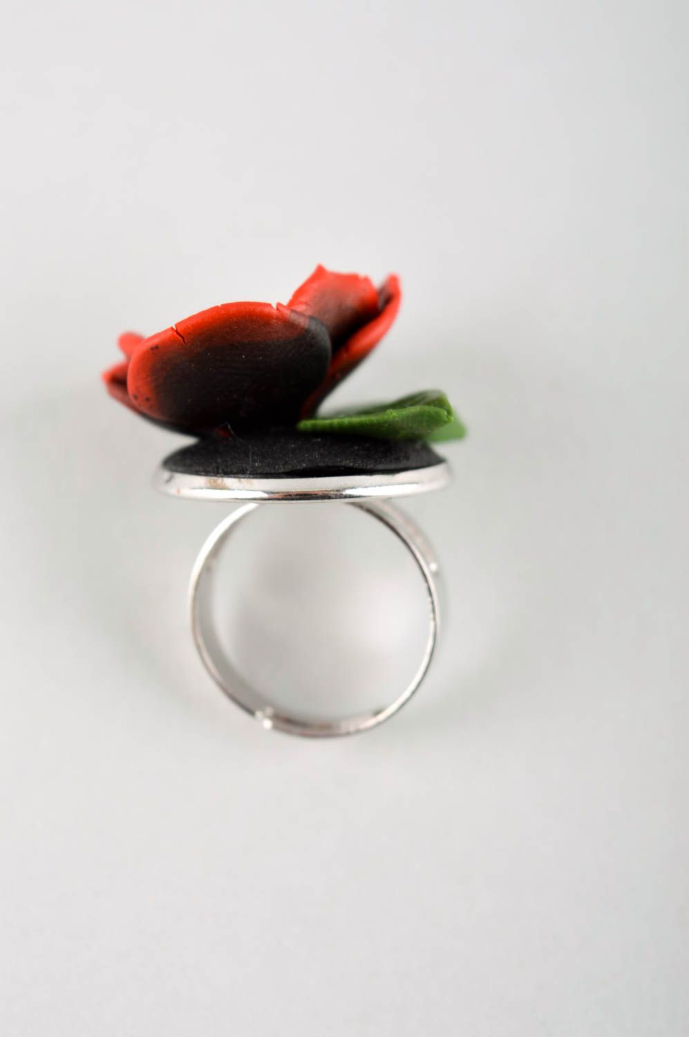 Handmade polymer clay ring unusual adjustable ring unusual flower ring photo 5