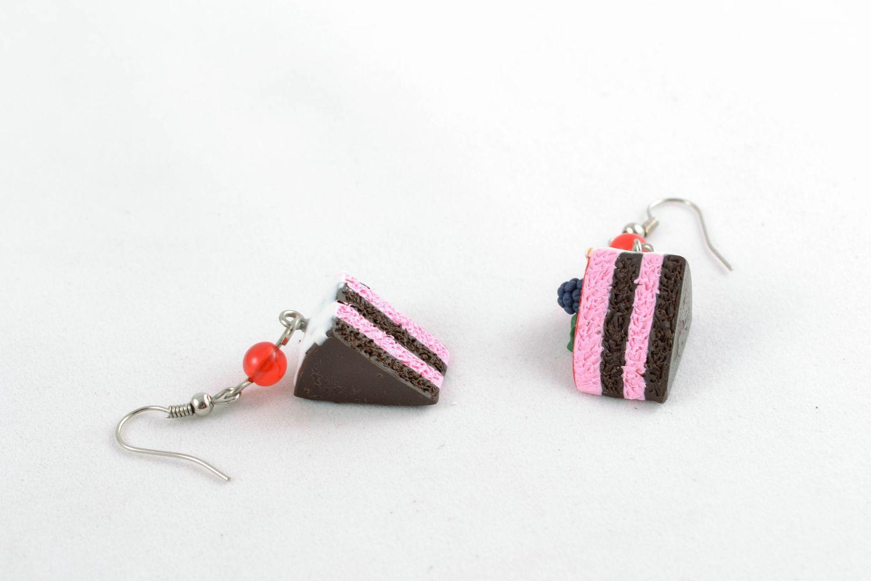 Серьги с подвесками из полимерной глины Черничный пирог фото 5