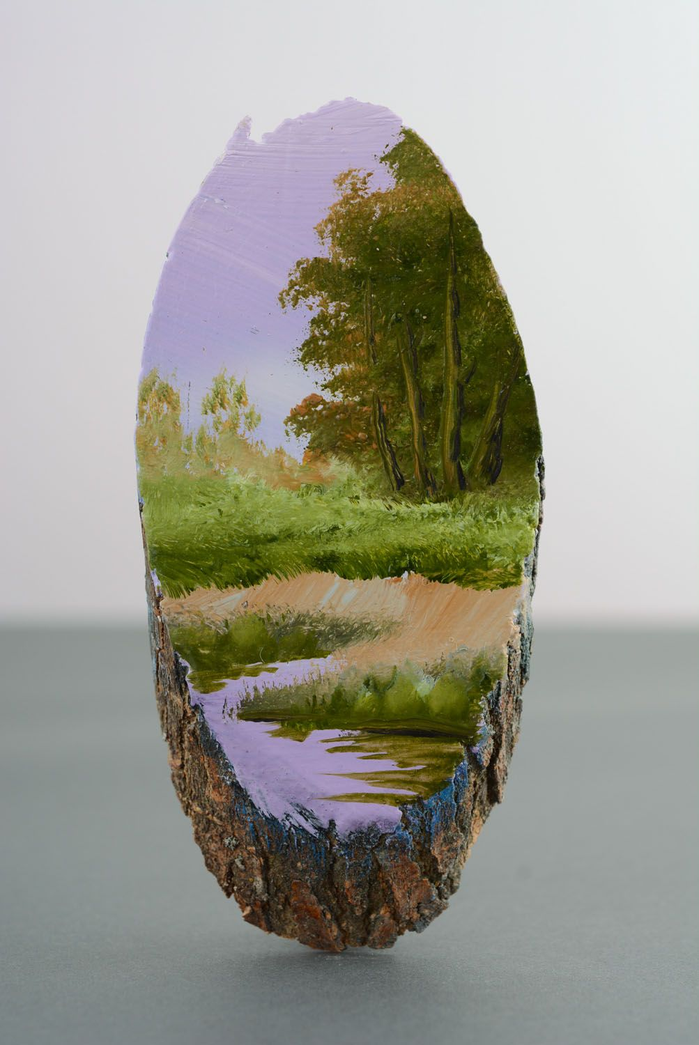 Homemade painted fridge magnet Lilac Evening photo 4