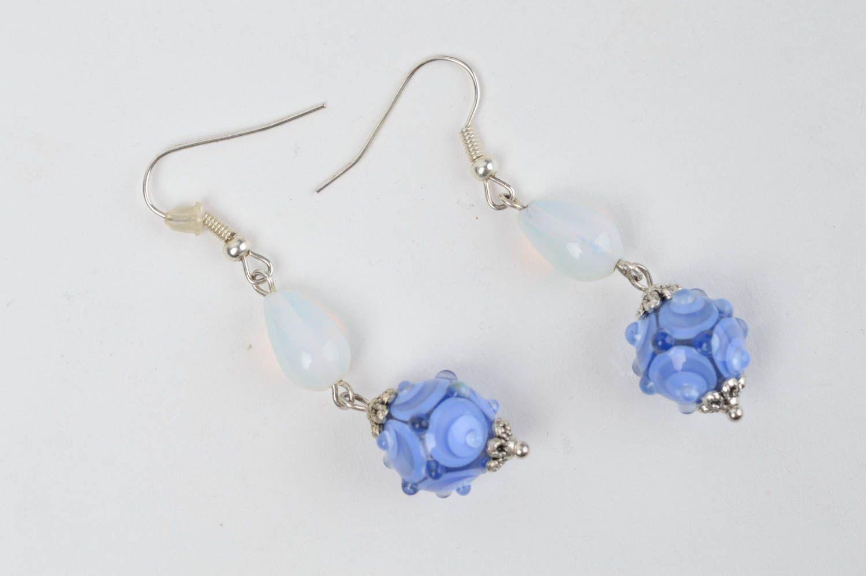 Lampwork and Heart Earrings Colorful Lampwork Earrings Silver Heart Earrings E714 Gifts for Mom