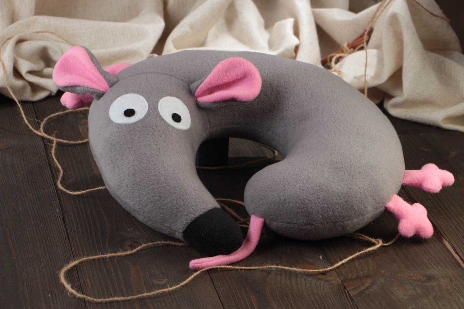 Small handmade travel pillow funny soft pillow pet Gray Mouse photo 2