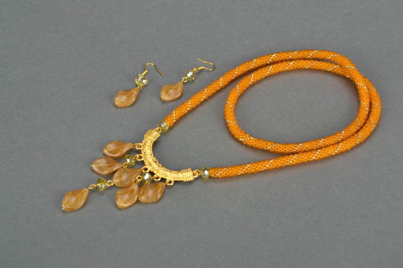 Homemade beaded jewelry set Golden Dust photo 3