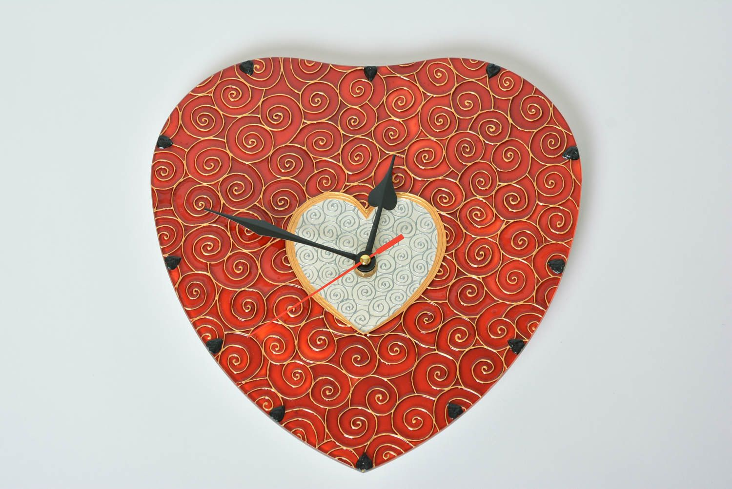Madeheart Handmade Heart Shaped Clock Stained Glass Wall Clock