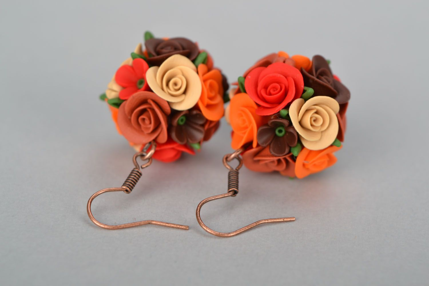 Handmade earrings Flower Balls photo 4