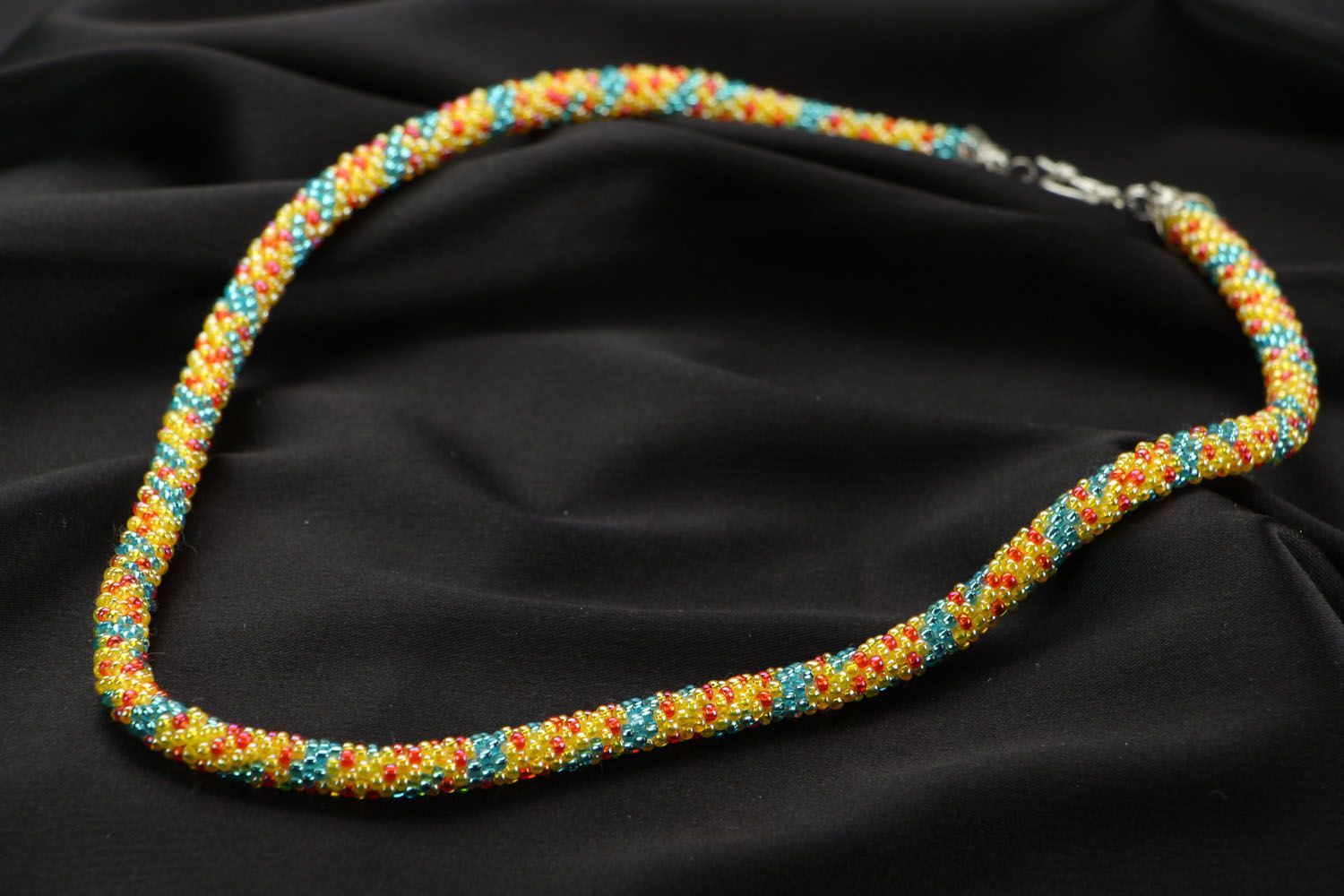 Unusual beaded cord necklace photo 2