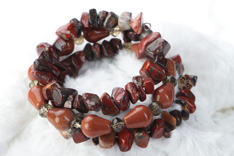 Multi-row bracelet with jasper and aventurine  photo 1