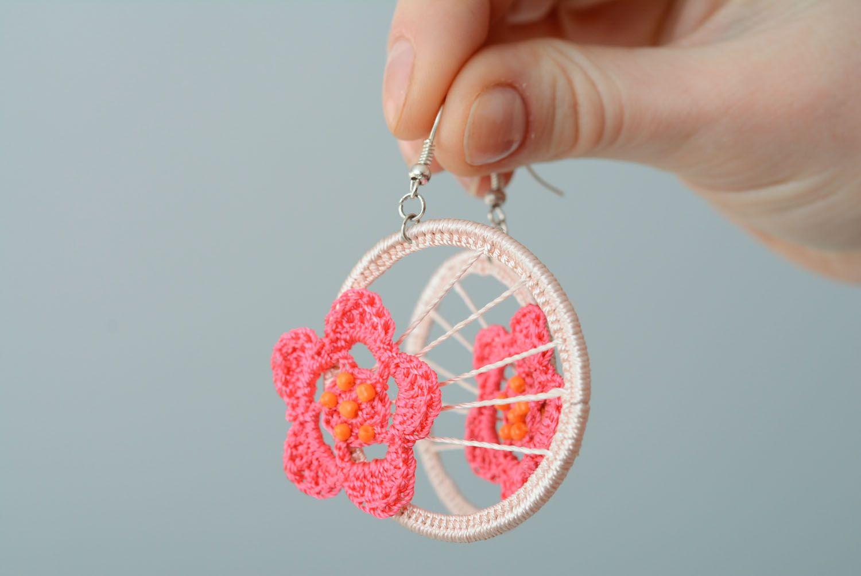 Crochet earrings With Flower photo 3