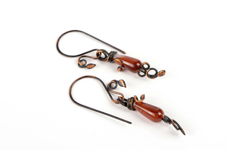 Handmade earrings long earrings metal jewelry gift ideas unusual accessory photo 1
