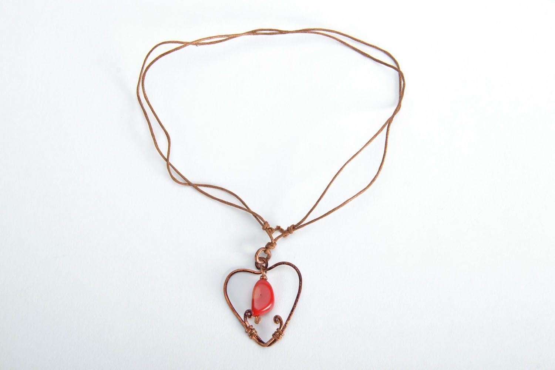 Heart-shaped copper pendant photo 4