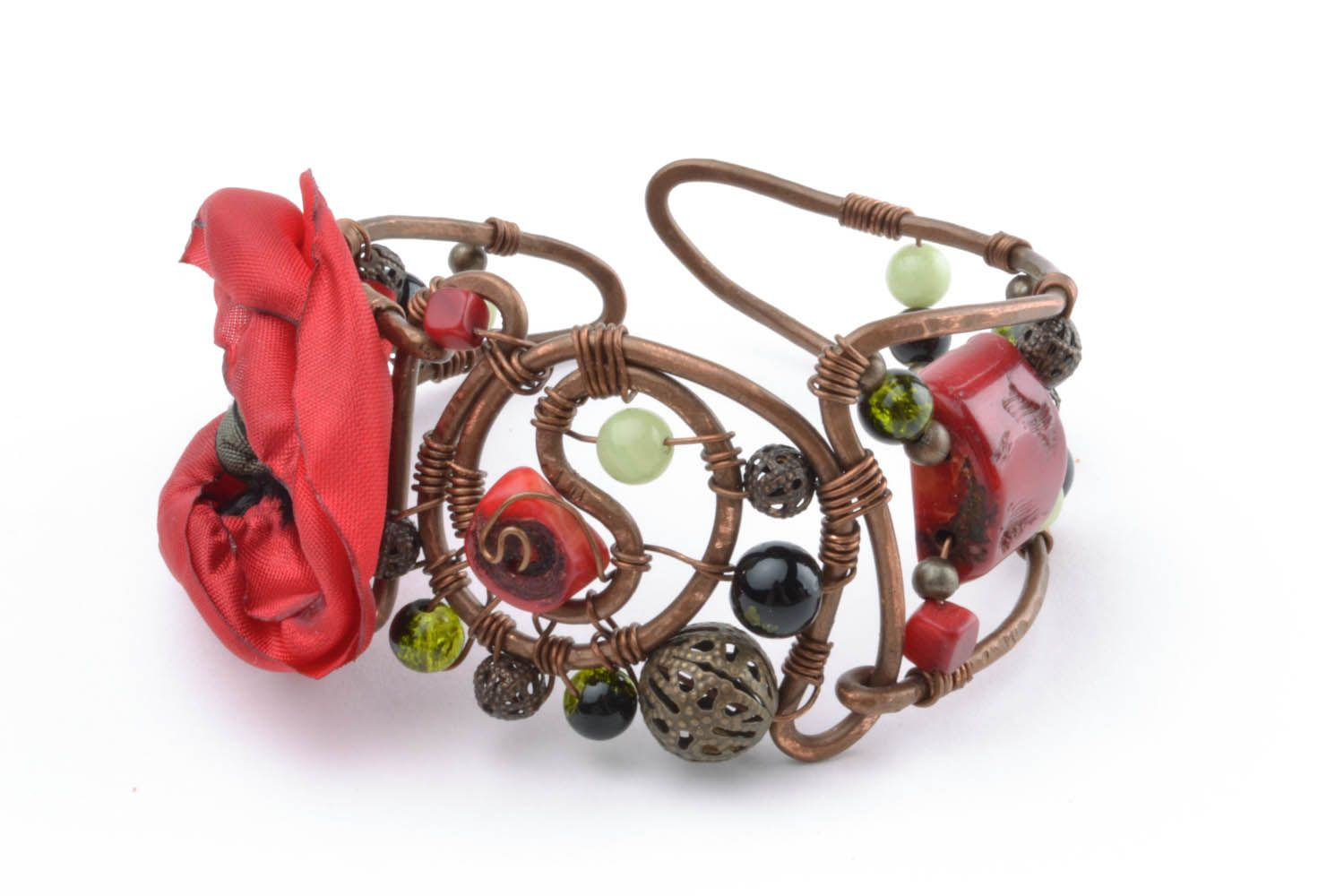 Copper bracelet with a flower Poppy photo 3