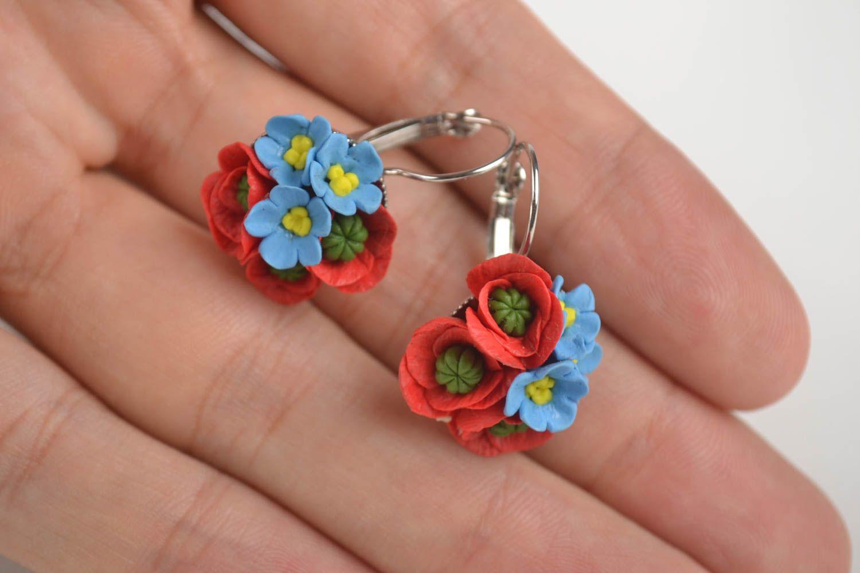 Handmade unique cold porcelain earrings designer bijouterie present for women photo 5