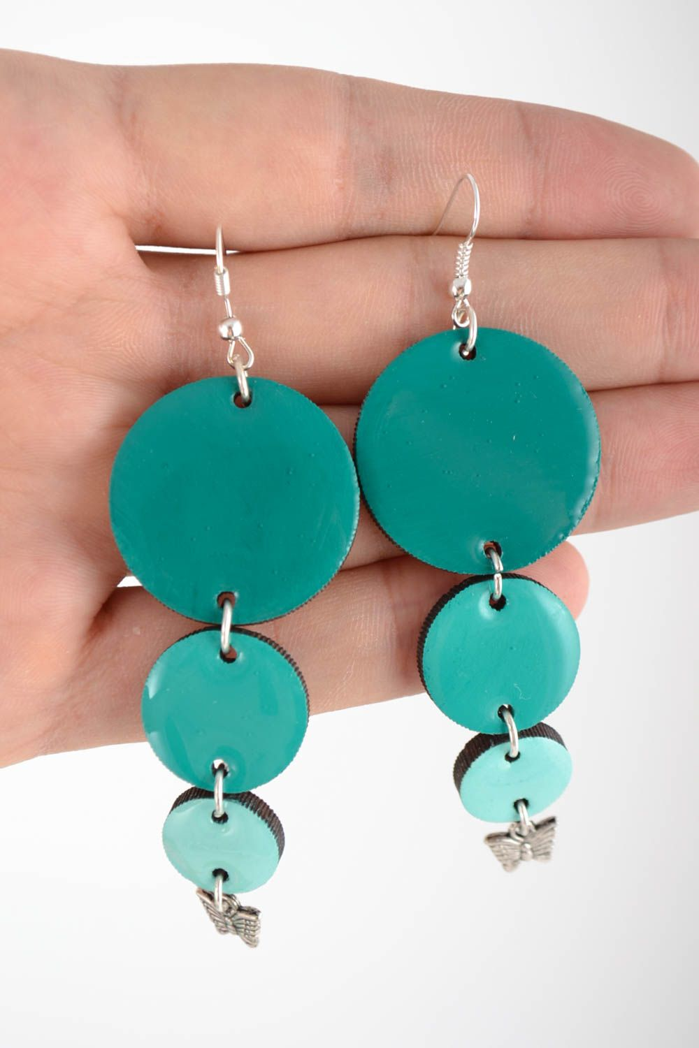 Handmade earrings made of wood and coated with epoxy resin turquoise color photo 5