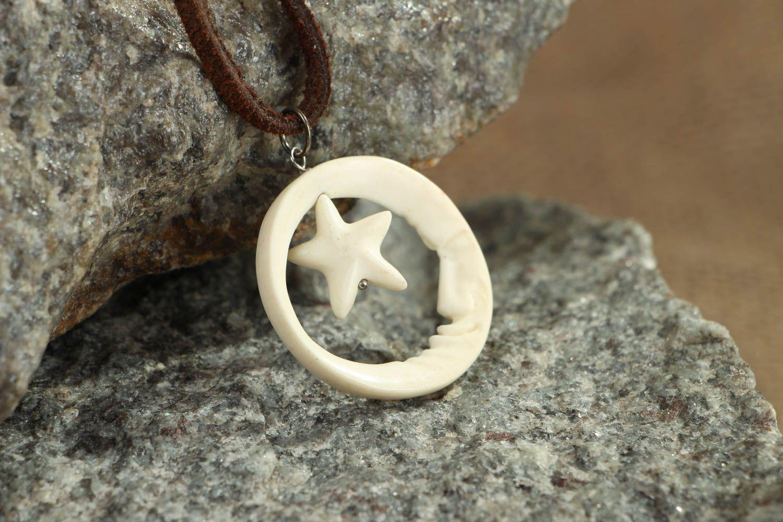 Carved bone pendant Half Moon and Star photo 5