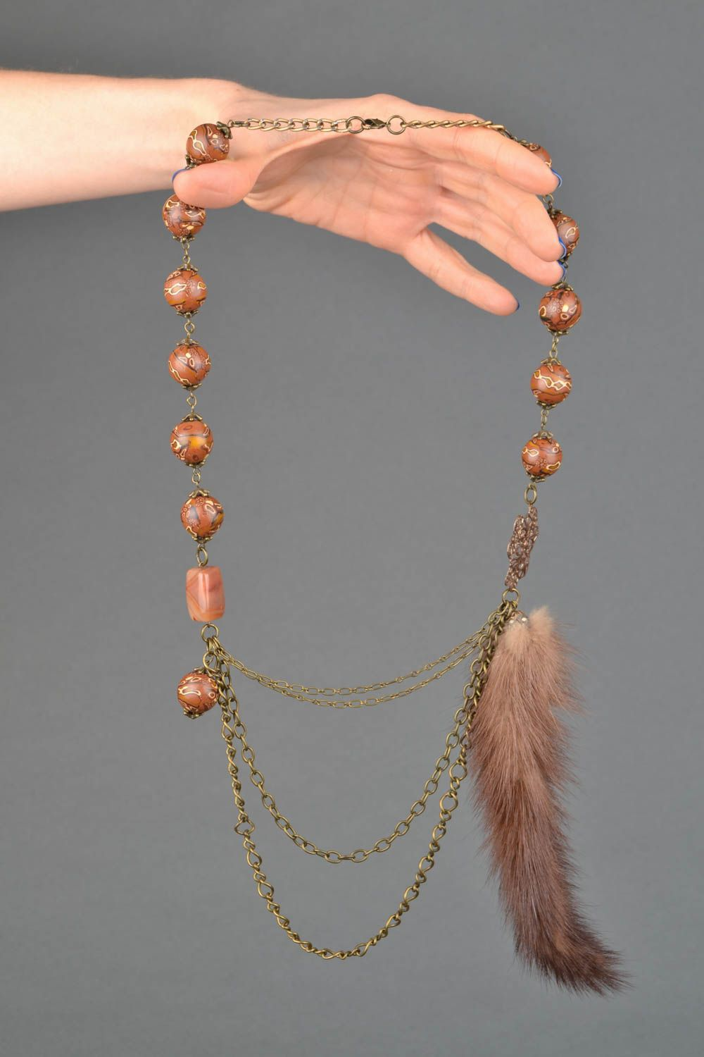 Bead necklace with natural stone and mink fur photo 2