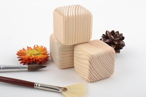 Set of handmade wooden blank cubes for creative work 3 pieces educational toys - MADEheart.com