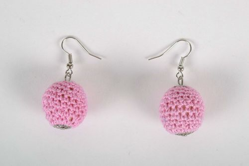 Wooden earrings crocheted with threads - MADEheart.com