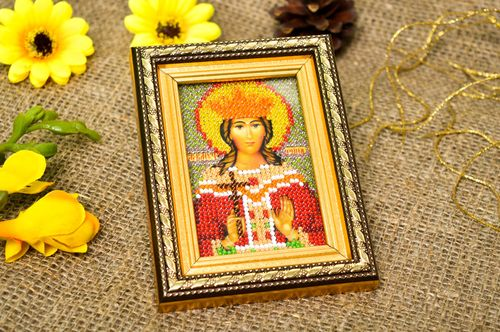 Handmade designer icon beautiful embroidered icon beaded orthodox icon - MADEheart.com