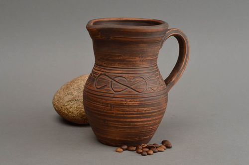 Unusual handcrafted ceramic jug beautiful clay water jug 500 ml home ceramics - MADEheart.com