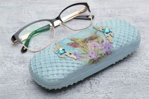 Unusual beautiful handmade blue eyeglasses case with decor - MADEheart.com