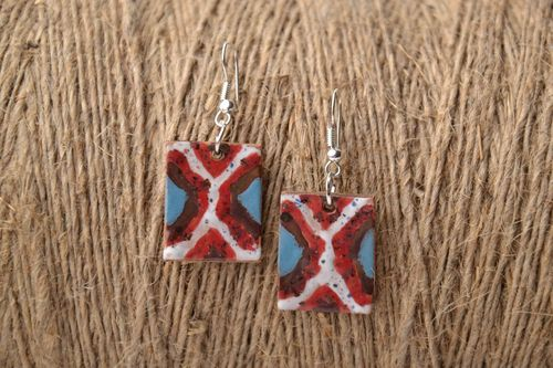 Ceramic earrings in ethnic style - MADEheart.com