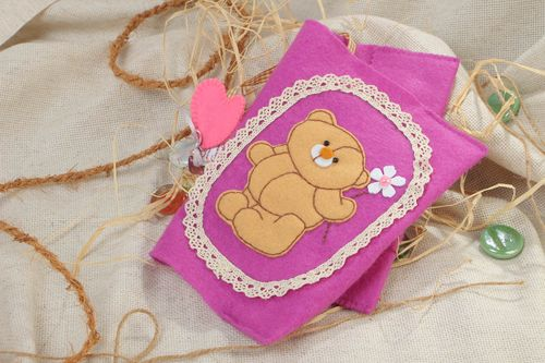 Handmade bright violet fabric cover with lace and image of bear for notebook - MADEheart.com