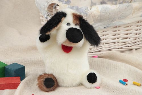 Handmade soft toy glove puppet sewn of faux fur cute white dog with dark ears - MADEheart.com