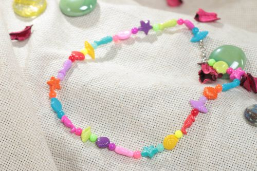 Bright colorful handmade childrens plastic bead necklace in marine style - MADEheart.com