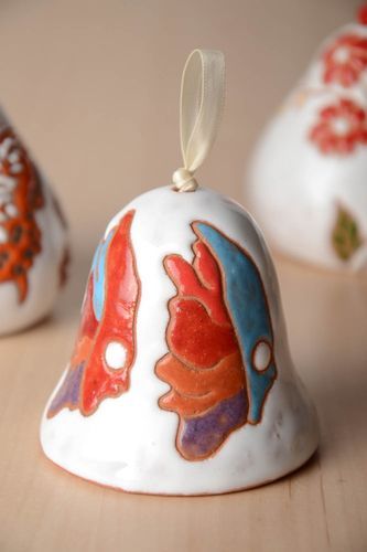 Original handmade white clay bell with paintings  - MADEheart.com