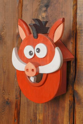 Handmade wooden birdhouse in the shape of boar - MADEheart.com