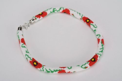 Necklace made of beads Poppies - MADEheart.com