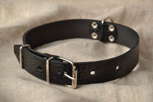 Leather dog collar with adjustable length - MADEheart.com