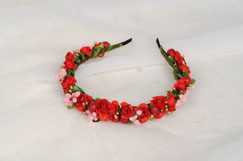 Headband with red roses - MADEheart.com