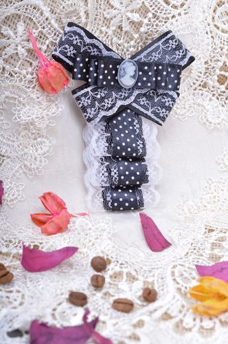 Handmade black and white polka dot fabric jabot brooch with cameo and lace - MADEheart.com