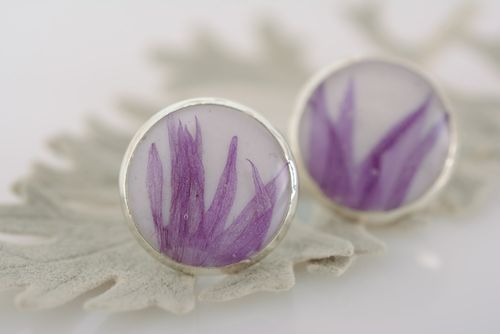 Small tender blue stud earrings with dried flowers in epoxy resin homemade - MADEheart.com
