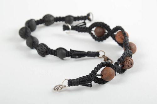 Set of 2 unusual handmade woven bracelets with beads fashion accessories - MADEheart.com