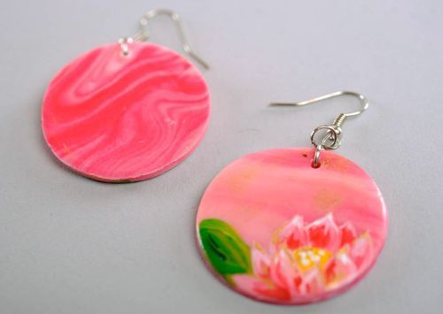 Earrings made of polymer clay Lotus - MADEheart.com