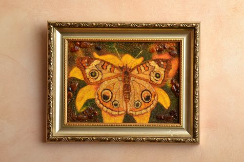 Amber decorated picture with plastic frame Butterfly - MADEheart.com