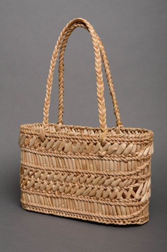 Reedmace basket purse with two handles - MADEheart.com