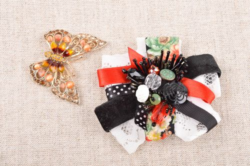 Brooch jewelry handmade ribbon brooch designer jewelry gift ideas for girls - MADEheart.com