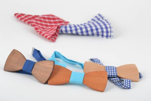 Set of 3 wooden bow ties with fabric straps designer unisex accessories - MADEheart.com