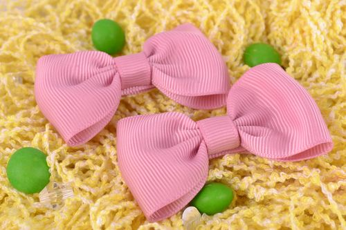 Handmade decorative hair clips with bows set of 2 pieces pink small hair accessories - MADEheart.com