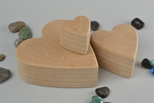 Set of handmade MDF craft blanks for painting and decoupage DIY 3 pieces - MADEheart.com
