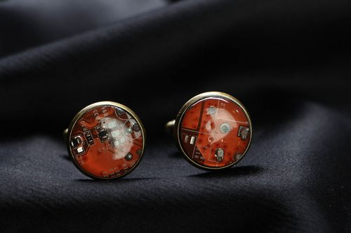 Cyberpunk cuff links of round shape - MADEheart.com