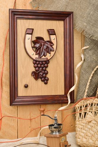 Handmade decorative brown wooden wall panel with bunch of grapes with frame - MADEheart.com