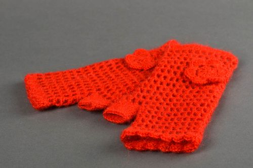 Handmade crocheted mitts unusual red mitts female winter accessory cute gift - MADEheart.com