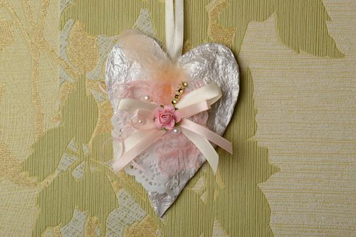 Handmade decorative Interior pendant made of cardboard heart valentine card with lace - MADEheart.com