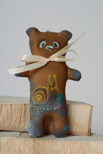 Handmade scented soft toy imbued with coffee for decor Bear - MADEheart.com