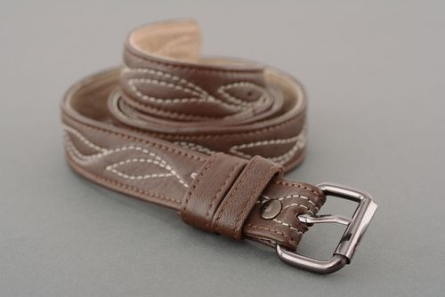 Stitched leather belt - MADEheart.com
